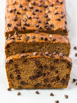Moist and delicious Paleo Pumpkin Bread with Chocolate Chips. The BEST pumpkin bread I've ever had! Simple, healthy, and low carb pumpkin bread made with almond flour. Easy, gluten free, and filled with fall spices. The perfect recipe!