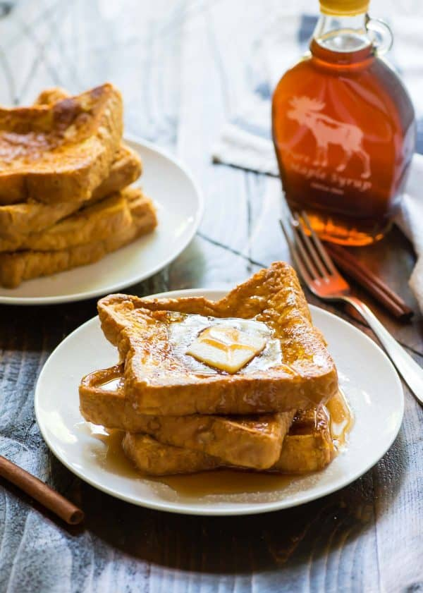 Healthy Pumpkin French Toast. Soft, fluffy, EASY recipe that's packed with fall flavor!