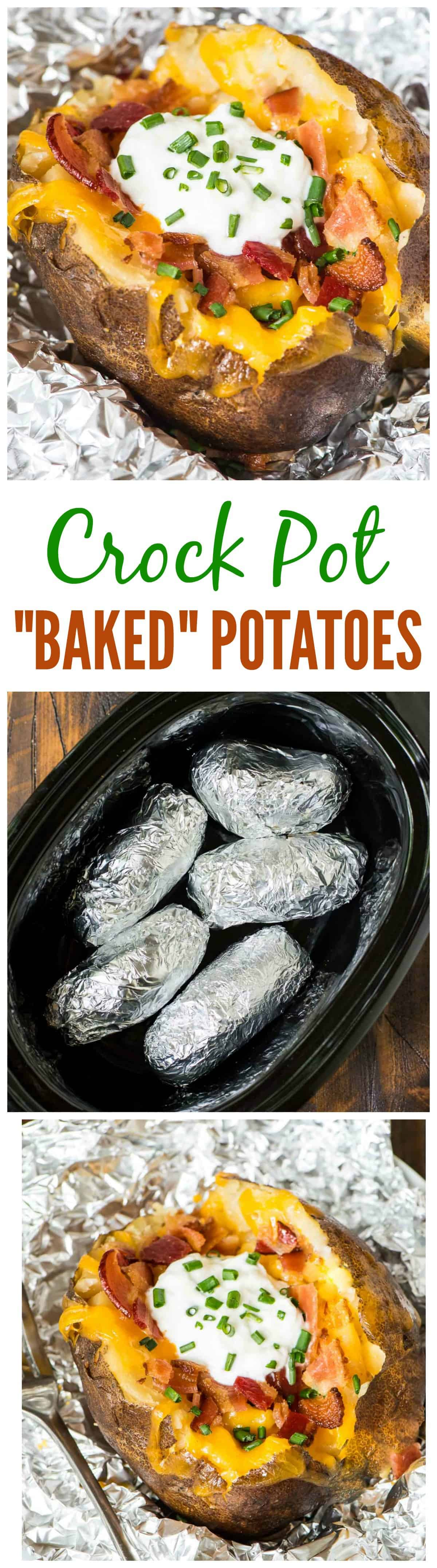 Crock Pot Baked Potatoes recipe — the easiest way to bake a potato is in your slow cooker! Easy method with no clean up. Great for weeknight dinners or to feed a crowd.  @wellplated #crockpot #slowcooker #sides #recipe