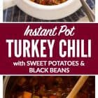 Easy Instant Pot Chili with canned beans, turkey, and sweet potatoes. Healthy, DELICIOUS pressure cooker chili recipe that's ready in 30 minutes! Freezer-friendly, great leftover, and always a family favorite. Recipe includes directions to cook on a stovetop or slow cooker too. #instantpotrecipes #instantpotchili #healthychili #turkeychili #pressurecooker