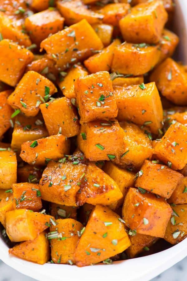 Our family's favorite Maple Cinnamon Roasted Butternut Squash with rosemary.