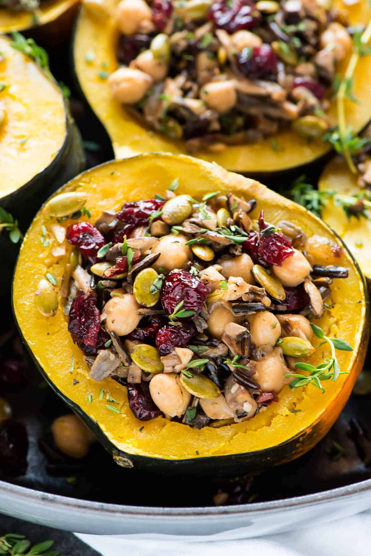 Wild Rice Cranberry Stuffed Acorn Squash made quick and easy in the Instant Pot