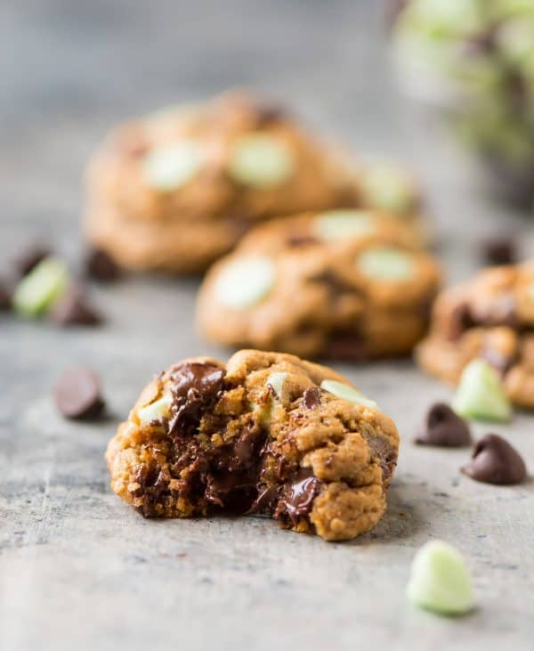 Super soft, chewy Mint Chocolate Chip Cookies from scratch! BEST RECIPE. Even better than Nestle Toll House cookies! Easy, healthy, and you can use Andes pieces or regular mint chips. Perfect for Christmas or anytime you are craving chocolate and mint!