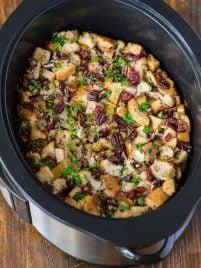 slow cooker stuffing in a crock pot