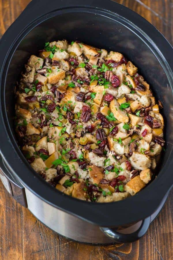 a crock pot full of slow cooker stuffing