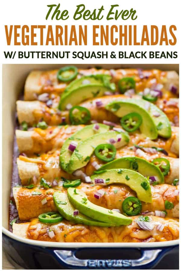 Easy CHEESY Vegetarian Enchiladas with Black Beans and Butternut Squash. This filling, healthy, Mexican enchiladas casserole is packed with veggies and perfect for parties and meatless Mondays! #wellplated  #vegetarian #enchiladas #recipe #healthy