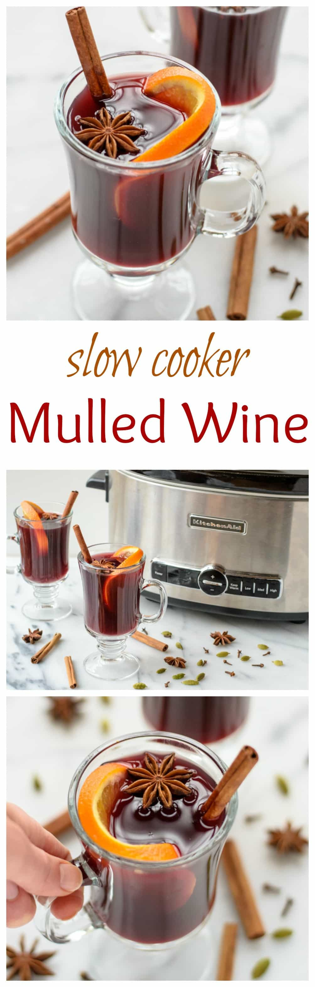 Slow cooker spiced wine (mulled wine) is an easy holiday cocktail recipe, made with red wine, apple cider, citrus, and warm spices. The delicious warm drink is perfect for holiday parties! #cocktails #Christmas #recipe