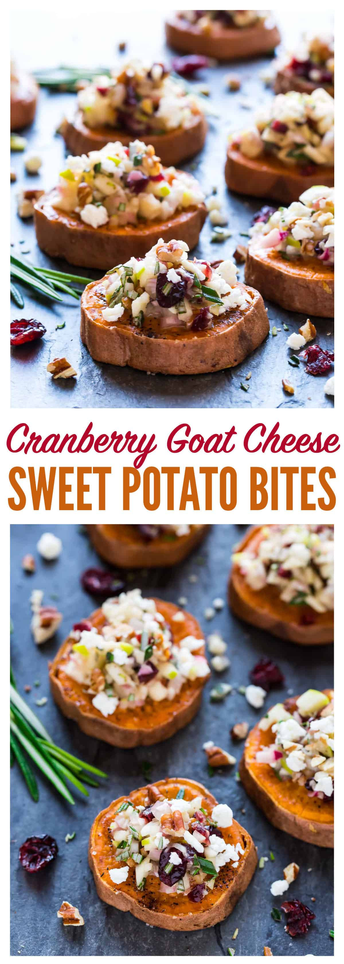 Baked Sweet Potato Rounds with Goat Cheese, Cranberry, Apple, and Pecans. An easy and addictive sweet potato appetizer! Healthy baked sweet potato slices roasted until crispy, then topped with a delicious combination of holiday flavors. Perfect easy appetizer for Thanksgiving, Christmas, and any party! #appetizer #recipes #healthy #glutenfree