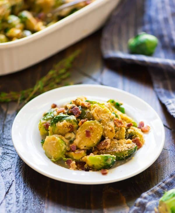 Brussels Sprouts Gratin. This healthy, cheesy side dish is easy to make, and the whole family will love brussel sprouts au gratin with bacon! Make it for Thanksgiving, Christmas, or anytime.