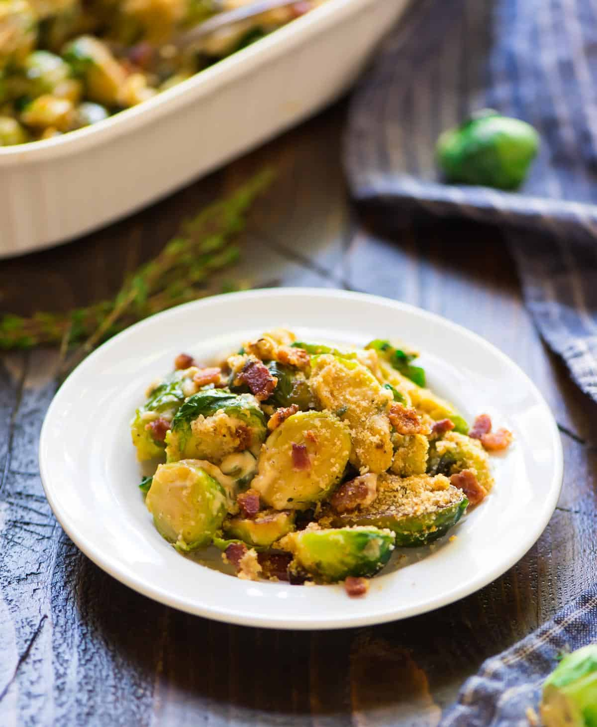 Brussels sprouts casserole on a plate