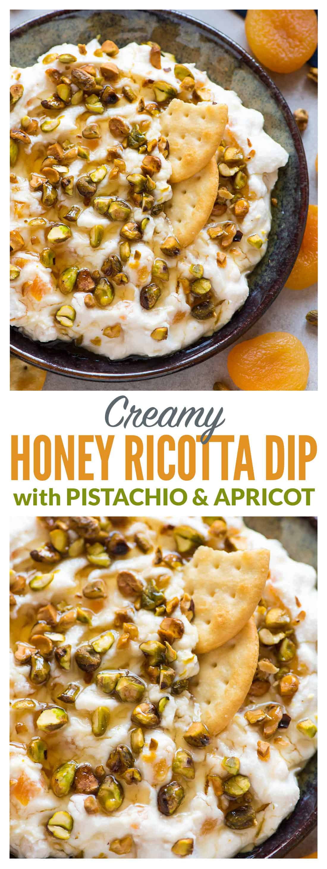 Creamy Honey Ricotta Cream Cheese Dip with Pistachio and Apricot. Easy and delicious recipe served with bread and crackers. One of our favorite appetizers for parties! #appetizer #creamcheesedip #easy