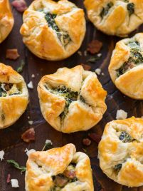 Flaky spinach puffs