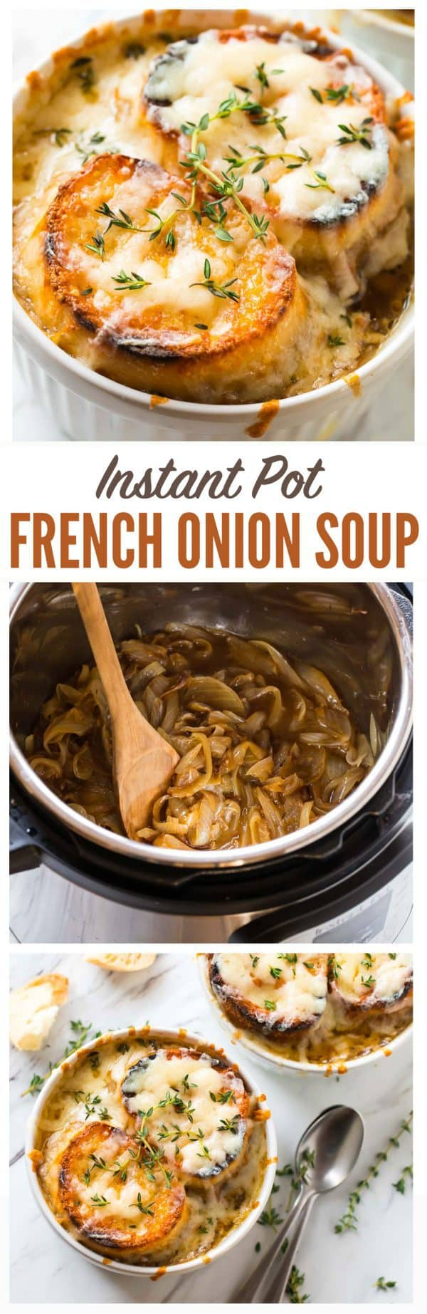 Instant Pot BEST French Onion Soup! Classic French onion soup recipe that tastes like Julia Child and Ina Garten recipes but is easy and more healthy! The pressure cooker makes it quick and you'll love all that cheese on top! #instantpot #frenchonionsoup #recipe #soup