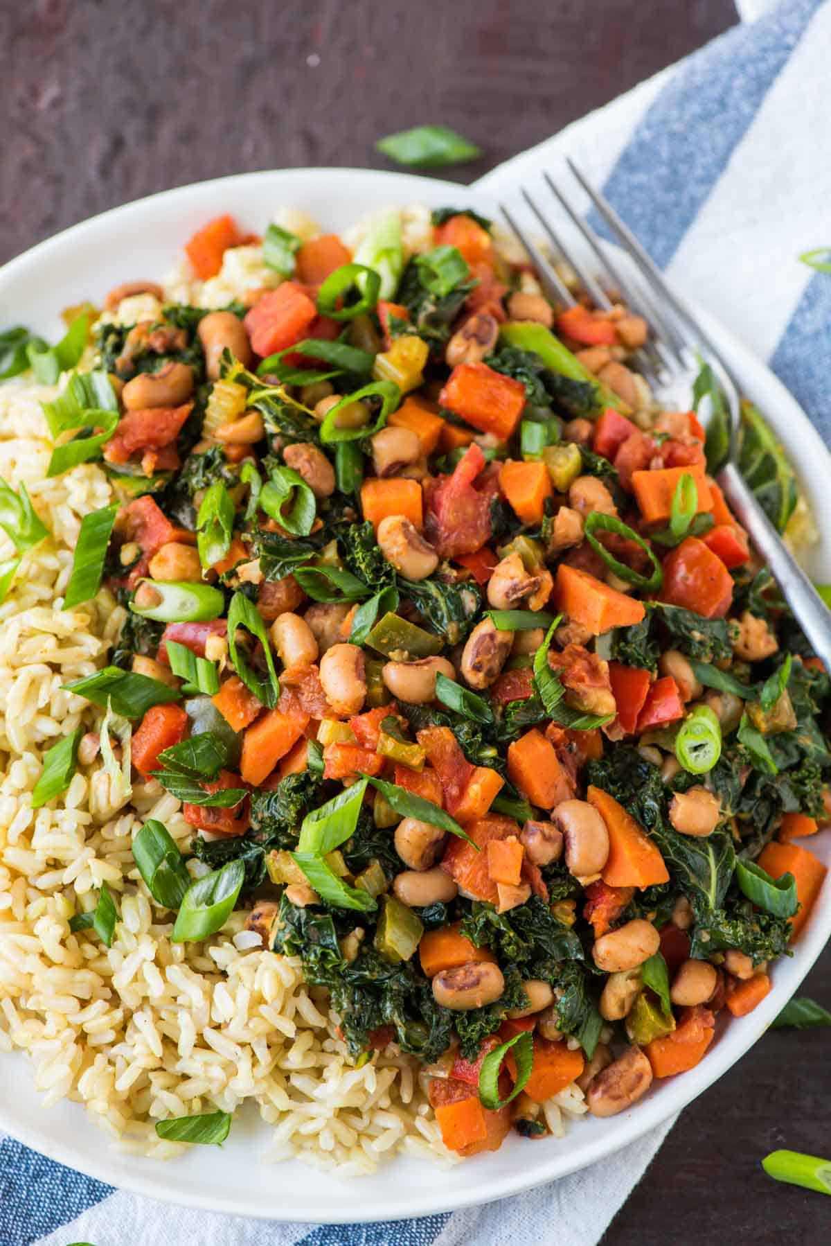 Hoppin' John on a plate with rice