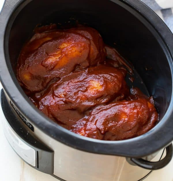 Crock pot bbq chicken recipe well plated by erin for Cooking chicken thighs in crock pot