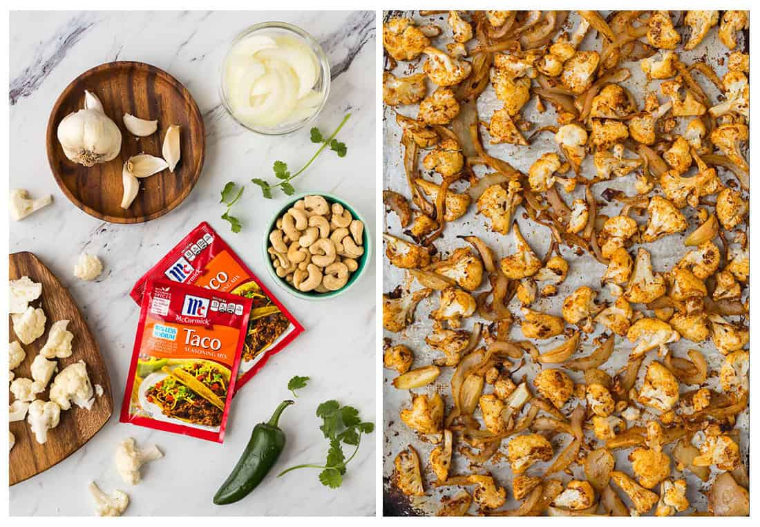 Split image showing ingredients for vegan queso on the left and roasted cauliflower on a sheet pan on the right