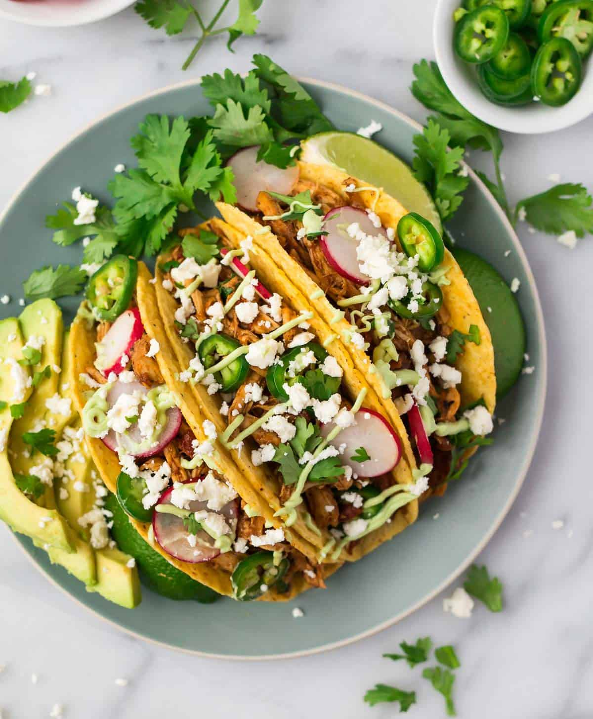 Three instant pot shredded chicken tacos in crunchy corn tortillas garnished with cilantro and avocado on a mint-colored plate.