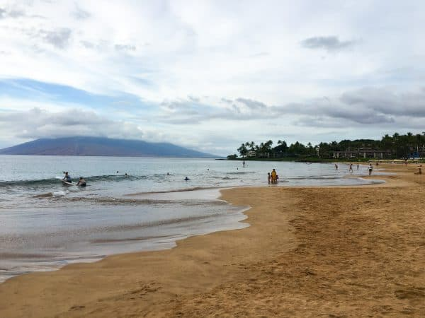 Wailea Beach in Hawaii on a partly cloudy day