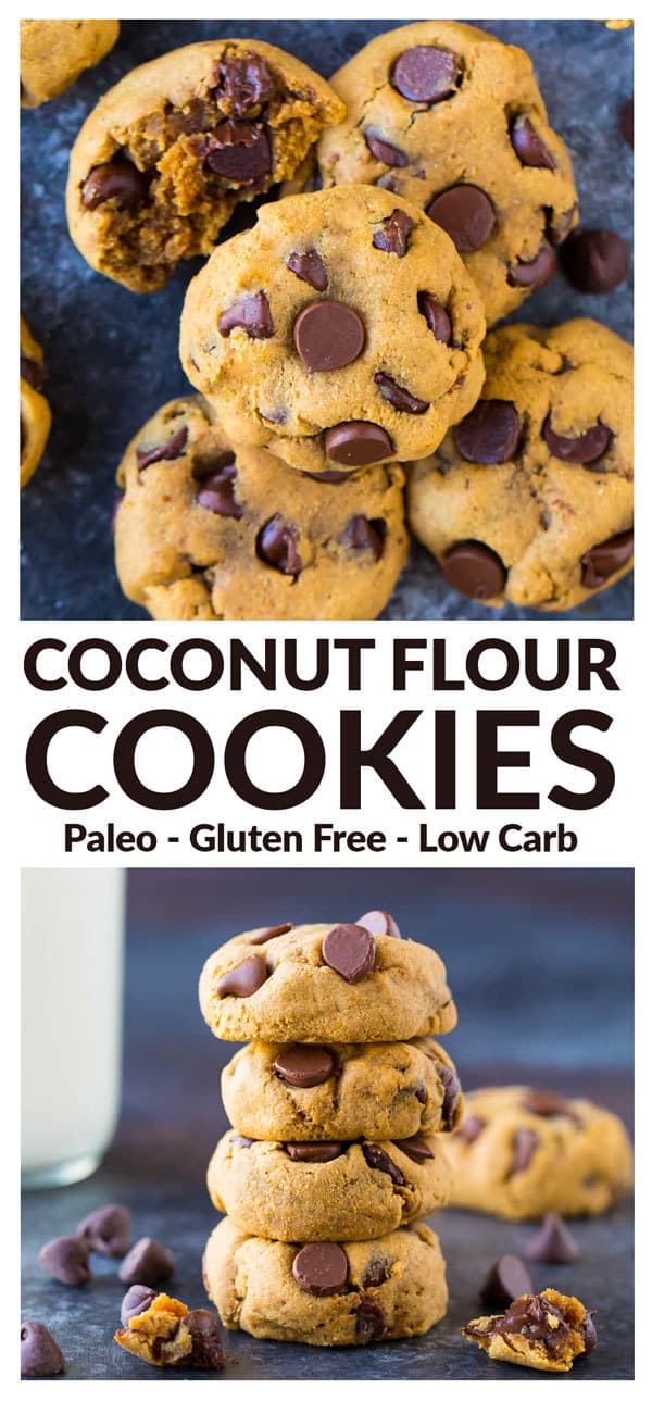Soft and chewy Paleo Coconut Flour Cookies. Low carb, healthy, and packed with protein! Made with coconut flour, peanut butter, chocolate, and NO refined sugar! Great for when you need a healthy dessert. Gluten free, grain free; includes vegan (no eggs) substitution tips. #lowcarb #paleo #healthy #cookies