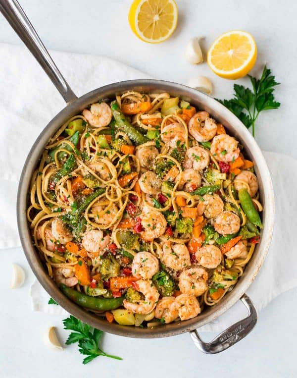 A healthy and easy dinner recipe in a skillet with shrimp and veggies