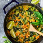Easy Thai Chickpea Curry with sweet potato, kale, and coconut milk. Not too spicy, healthy, and made with easy to find ingredients! Super tasty and ready in 30 minutes, so it's perfect for fast weeknight dinners. Vegan and gluten-free friendly recipes that's great leftover too!