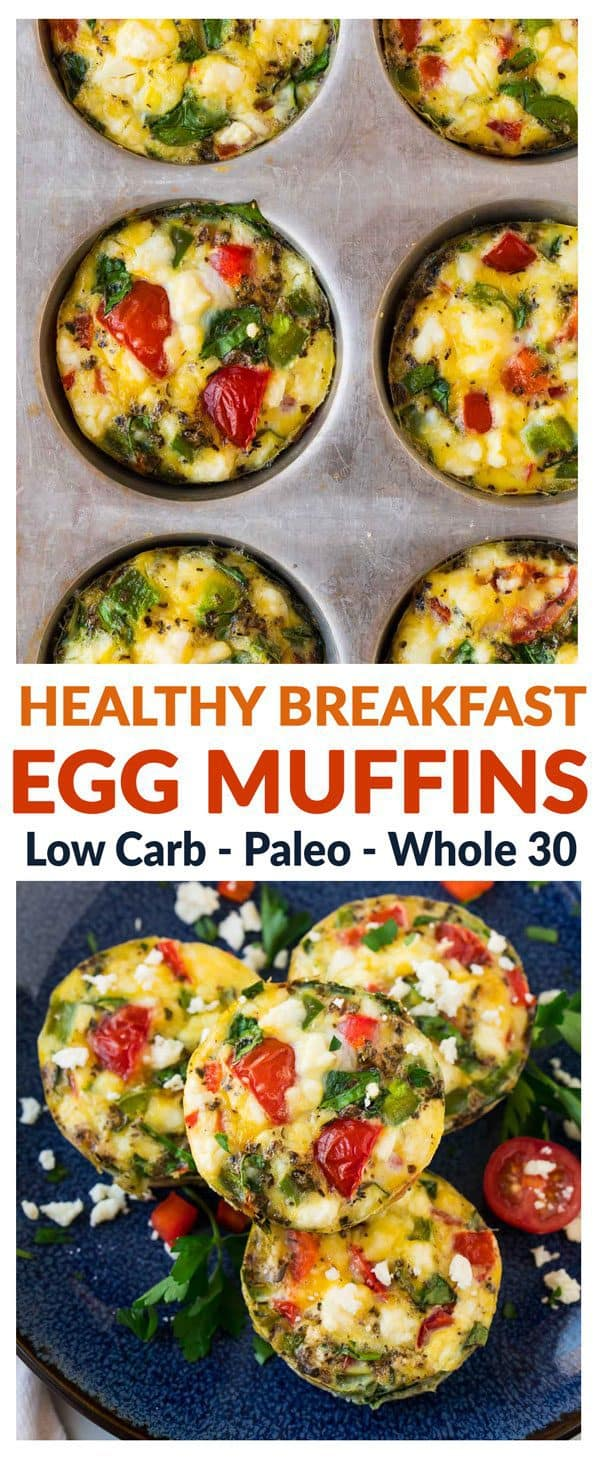 Healthy Breakfast Egg Muffins. Easy, low carb, and freezer friendly, these healthy egg muffin cups are the perfect makeahead breakfast. Like mini quiches without the crusts! Add spinach, ham, or any favorite veggie. Delicious with or without cheese, so these can be Paleo, Whole 30, and dairy free too! #easy #healthy #eggmuffins #lowcarb #paleo