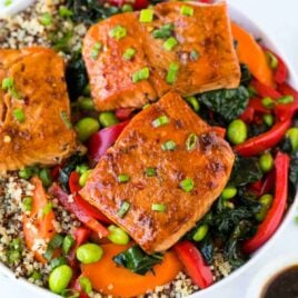 Teriyaki Salmon Quinoa Bowls with Kale. Easy, healthy, meal prep bowls with the best homemade Asian Teriyaki sauce!