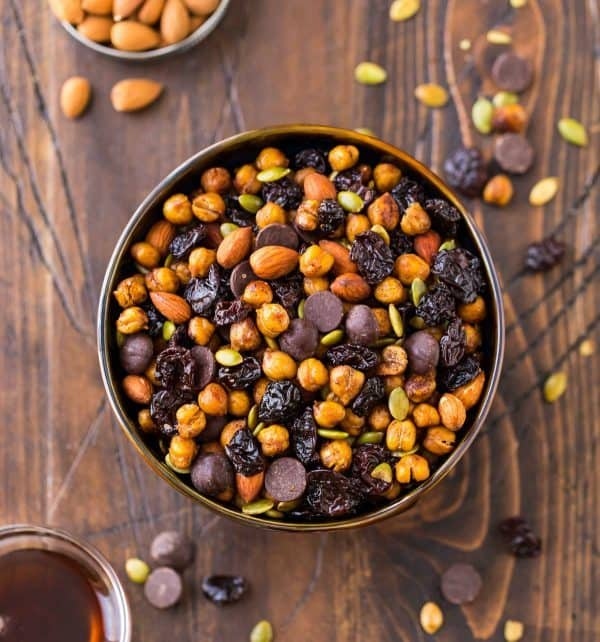 Roasted Chickpea Snack Mix. Crunchy, sweet, spicy, and so addictive! With healthy roasted chickpeas, dried cherries, almonds, pepitas, and dark chocolate, this easy snack recipe is sure to be a hit.