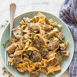 a plate of slow cooker beef stroganoff
