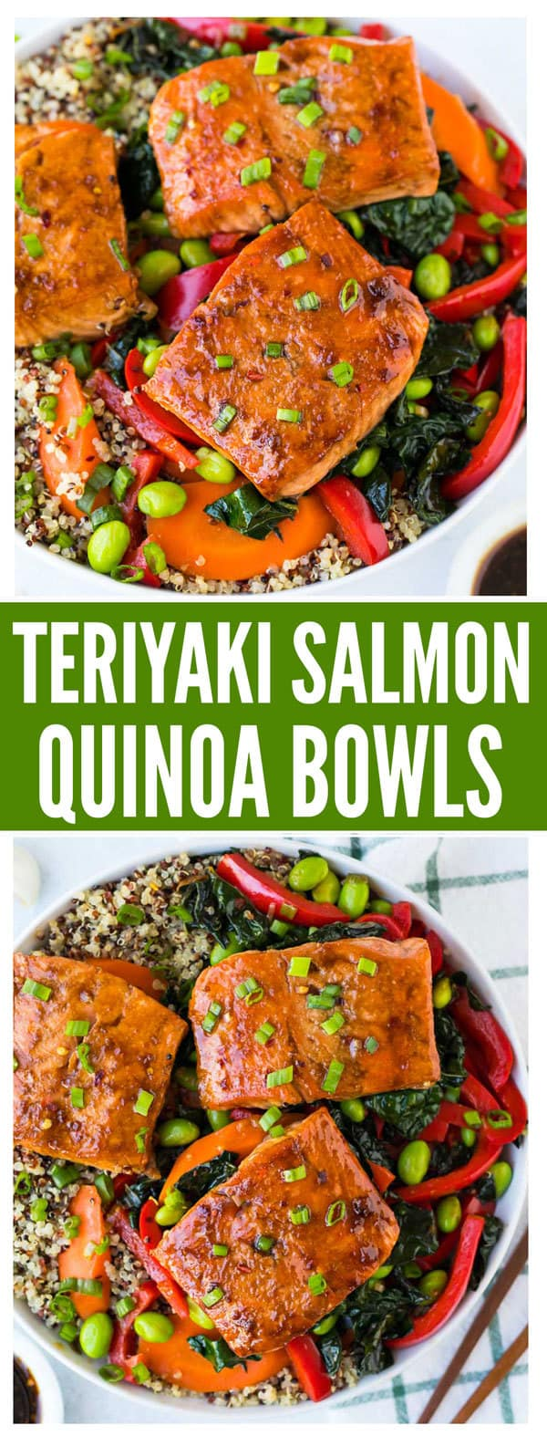 Teriyaki Salmon Bowl with Quinoa, Kale, and Fresh Veggies. A quick and easy cooked Asian Buddha bowl that's perfect for healthy lunches, meal prep, and fast dinners! Add avocado or swap any veggies you have on hand. #mealprep #glutenfree #healthy