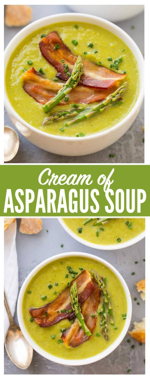 The BEST Healthy Cream of Asparagus Soup! This rich, velvety soup tastes like the Pioneer Woman's but is made without cream! Quick, easy recipe that's perfect for spring. Top with bacon or omit to make the asparagus soup vegan {gluten free; dairy free friendly} #asparagus #soup