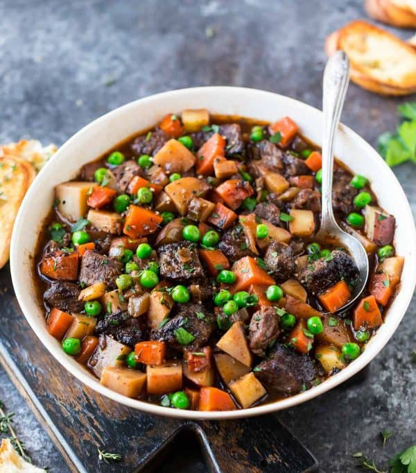 bowl of comforting crock pot beef stew