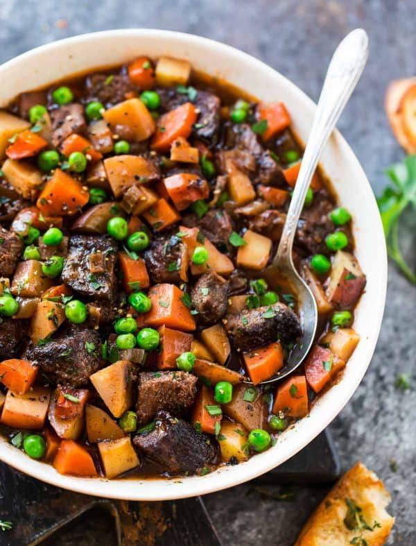 Healthy Crock Pot Beef Stew with peas and carrots