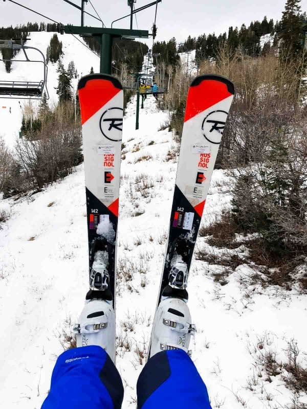 Skis on lift at Deer Valley Resort