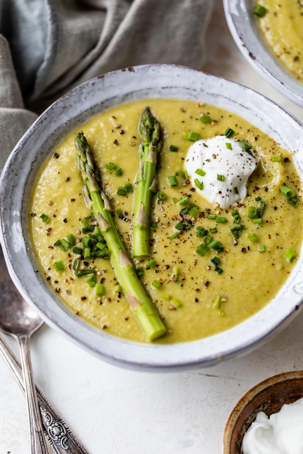 Asparagus cream soup with shrimps, quick recipe 65