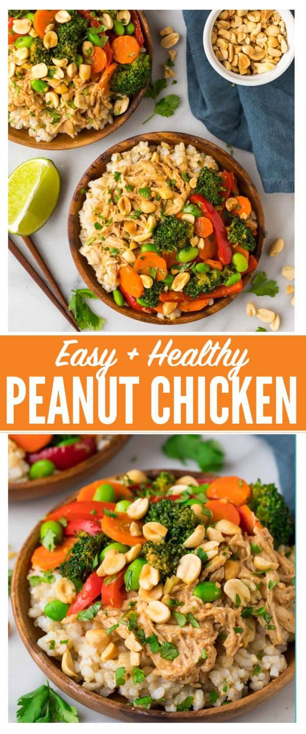 Easy Peanut Chicken Stir Fry with Veggies and Rice. A quick and healthy leftover shredded chicken or rotisserie chicken recipe that comes together in minutes. You can use any vegetables you have on hand, and the Thai peanut sauce is to die for! #thaipeanut #peanutchicken #easy #healthy