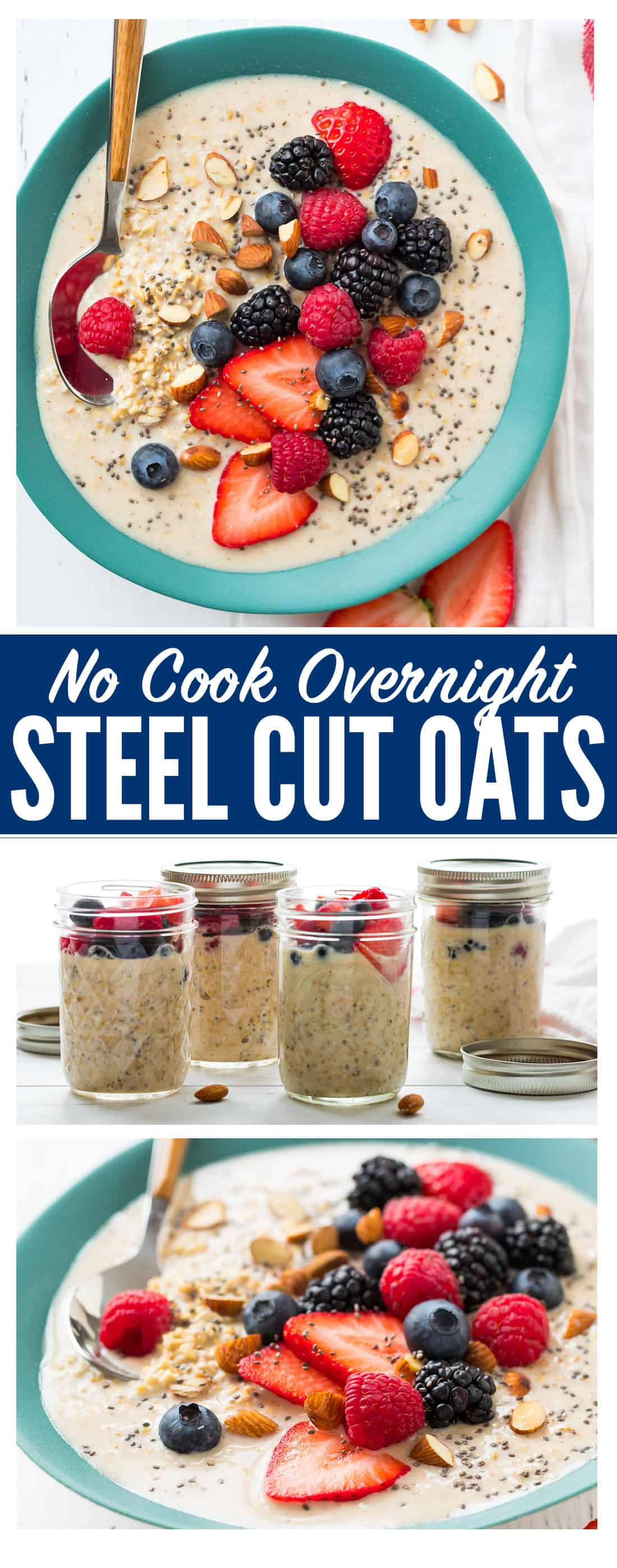 Meal Prep Overnight Steel Cut Oats. An easy, healthy no cook breakfast! Made with almond milk, peanut butter, and any other mix-ins you love, this high protein vegan recipe is endlessly customizable and can last in the refrigerator all week. #nocook #easy