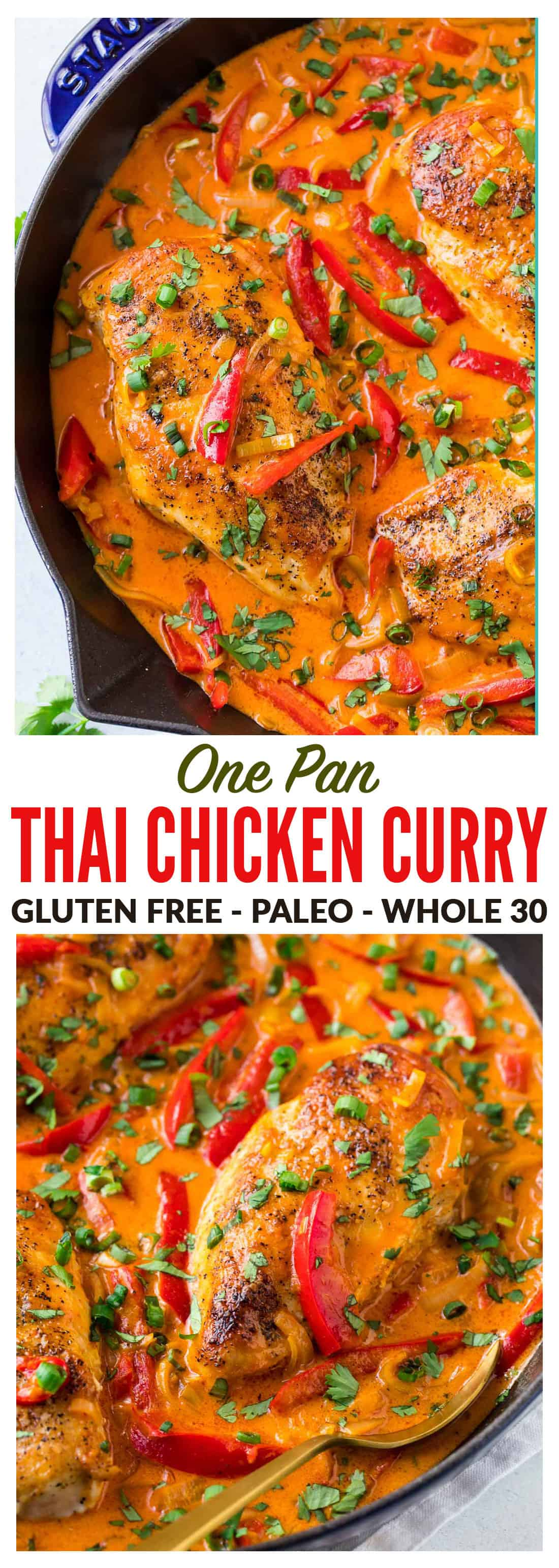 Easy ONE PAN Thai Chicken Curry with Coconut Milk recipe. Filled with authentic red Thai curry flavor, not too spicy, and the coconut milk sauce is to die for! Serve with rice for a fast, healthy weeknight dinner. #thaichickencurry #healthy #easy #whole30