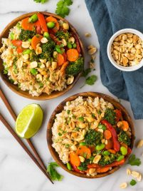 Easy Peanut Chicken with Veggies and Rice. A quick and healthy leftover shredded chicken recipe!