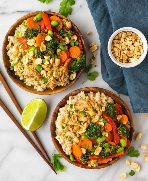 Peanut chicken with veggies and rice easy peanut chicken with veggies and rice a quick and healthy leftover shredded chicken recipe forumfinder