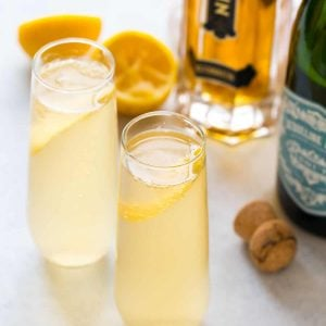 A bright and refreshing St. Germain cocktail made with St. Germain, gin or vodka, fresh lemon, and topped with Prosecco or champagne. Easy and perfect brunch, a special date night in, and parties!