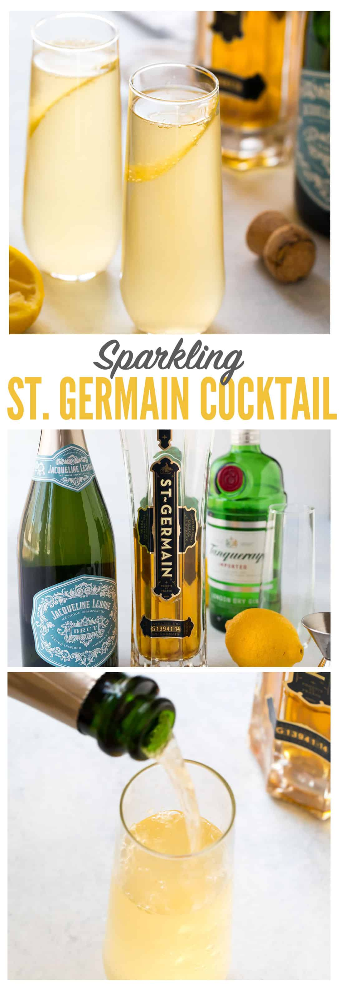 A bright and refreshing St. Germain cocktail made with St. Germain, gin or vodka, fresh lemon, and topped with Prosecco or champagne. Easy and perfect for brunch, a special date night in, and parties! #stgermain #cocktail #champagne #gin #vodka