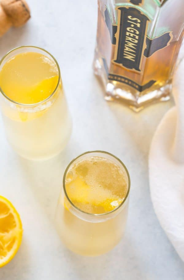 A bubbly, tasty cocktail served in glasses and made with gin or vodka, St. Germain, and champagne