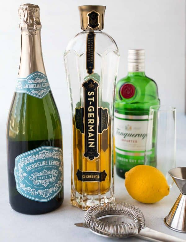 Brut prosecco or champagne, St. Germain, gin, and fresh lemon juice for making St. Germain cocktails