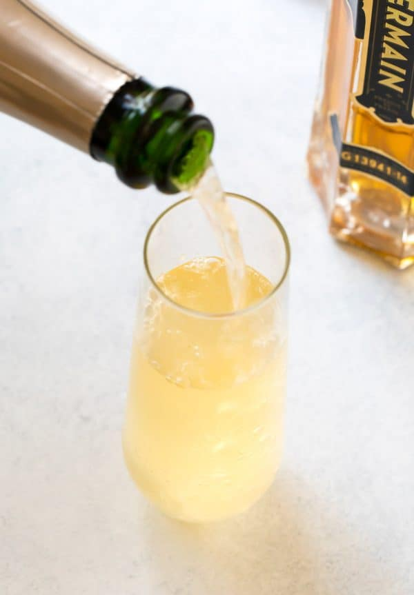 An easy, bubbly, and refreshing cocktail served in a glass