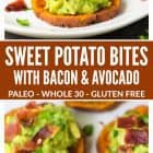 photo collage of sweet potato bites with bacon and avocado