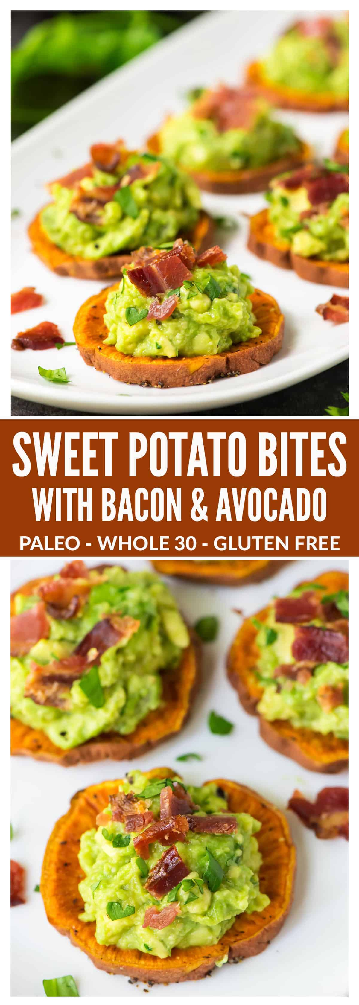 Sweet Potato Bites with Bacon and Avocado. Great finger food for game day! Paleo, gluten free, dairy free, and DELICIOUS. This easy and healthy baked sweet potato appetizer is always a crowd pleaser. @wellplated | #appetizers #bacon #glutenfree #dairyfree #paleo