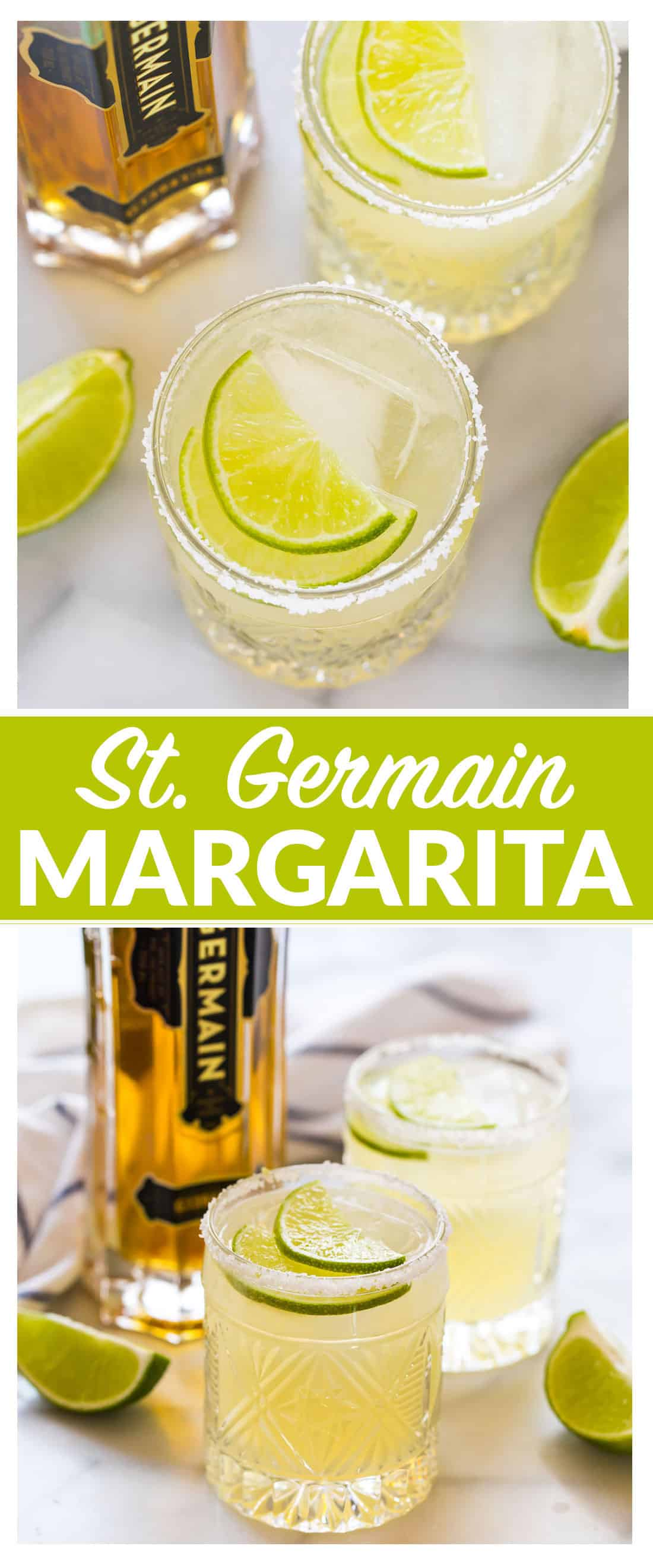 St. Germain Margarita. Fresh limes, tequila, St. Germain combine to create a bright, floral and refreshing elderflower margarita. No simple syrup required! This easy and delicious St. Germain cocktail will be a fast favorite! #stgermaincocktails