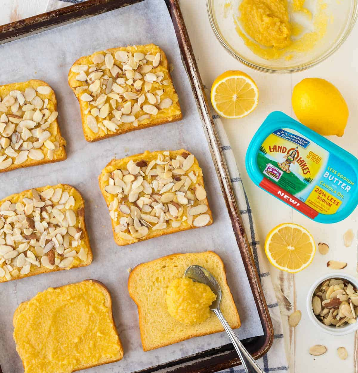 Bostock is topped with sliced almonds for a delicious brunch recipe and treat.