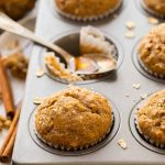 A delicious and healthy recipe for Applesauce Muffins with oatmeal, cinnamon, and honey. Healthy, tasty muffins with no sugar and no butter! The perfect healthy muffins for kids and grown-ups too!